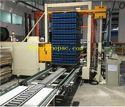 shell engine oil PP PET plastic empty bottle layer palletizer machine packing system